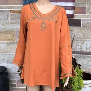 DG2 by Diane Gilman Embroidered Bell Sleeve Top